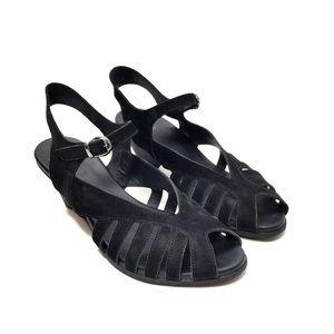 Arche Black Nubuck Strappy Heeled Sandals